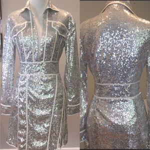 PLT Premium Silver Sequin Long Sleeve Dress
